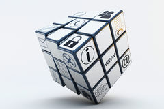 Business Rubiks Cube. Famous Rubiks Cube with business icons for your corporation Royalty Free Stock Images