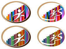 Business run. Isolated illustrated abstract logo set Royalty Free Stock Photos