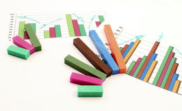 Business run up on graph Stock Photo
