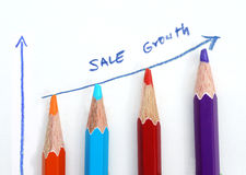 Business sale graph made by pencils on white background Royalty Free Stock Photography