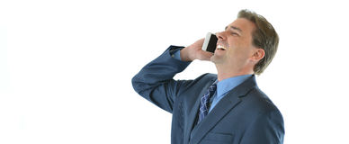 Business or sales man on the phone laughing Royalty Free Stock Photo