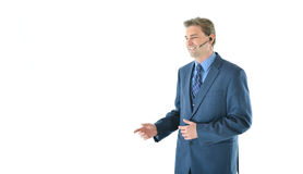 Business or sales man presenting or customer service representative Royalty Free Stock Images