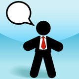 Business sales man talks in speech bubble. A business sales man stick figure talks in a speech bubble Royalty Free Stock Photography