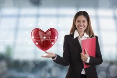 Business salesman agent hand holding red heart. concept accident royalty free stock images