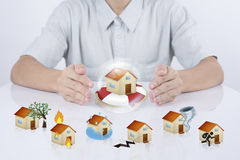 Business salesman agent protection house insurance. concept acci Stock Photography