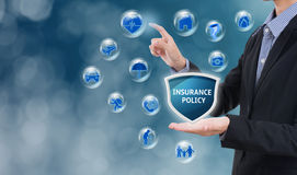 Business salesman agent with protection policy. Concept accident prevention healthcare insurance Stock Images