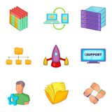 Business scheduling icons set, cartoon style. Business scheduling icons set. Cartoon set of 9 business scheduling vector icons for web isolated on white Royalty Free Stock Photo