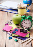 Business school accessories, supplies, pencils on rustic wooden table Royalty Free Stock Image