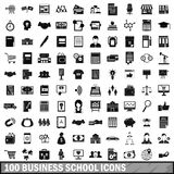 100 business school icons set, simple style Royalty Free Stock Photos
