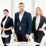 Business school training courses workshop coaching. Business school of success and leadership. team of young confident entrepreneurs. top manager coaching. ceo stock image