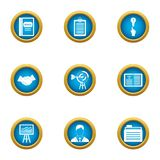 Business scope icons set, flat style. Business scope icons set. Flat set of 9 business scope vector icons for web isolated on white background Royalty Free Stock Images