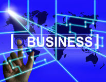 Business Screen Represents International Commerce or Internet Co Stock Images