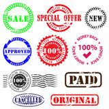 Business seals and badges. Modern collection of promotional stickers, badges, labels, logo concepts, seals and signs with retro feel Stock Images