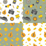 Business Seamless Pattern Set with Office Elements and Money Stock Photos