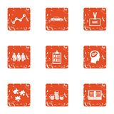Business sector icons set, grunge style. Business sector icons set. Grunge set of 9 business sector vector icons for web isolated on white background Royalty Free Stock Photography
