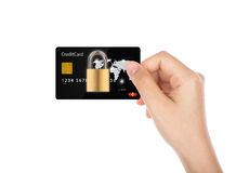Business security concept : Women hand holding credit card Stock Images