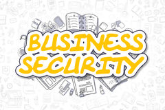 Business Security - Doodle Yellow Word. Business Concept. Cartoon Illustration of Business Security, Surrounded by Stationery. Business Concept for Web Banners Royalty Free Stock Image