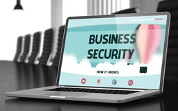 Business Security on Laptop in Meeting Room. 3D. Royalty Free Stock Photography
