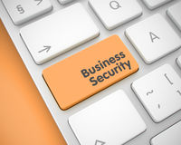 Business Security - Message on the Orange Keyboard Button. 3D. Online Service Concept: Business Security on the Laptop Keyboard Background. Business Security Stock Photo
