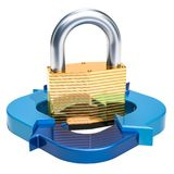 Business security and protect concept. Padlock with blue arrows,. 3D rendering isolated on white background Royalty Free Stock Photo