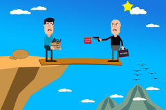 Business Self Jeopardy. Character representation of a corporate boss, standing on a plank extended over the edge of a cliff, and he is firing his best employee royalty free stock photos