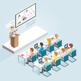 Business Seminar Isometric Flat Style. Stock Images