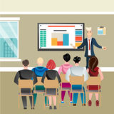 Business seminar in office with people stock illustration