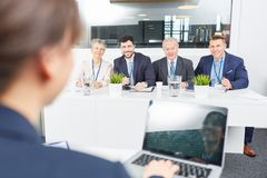 Business seminar for success training. Team listen to workshop presentation royalty free stock image