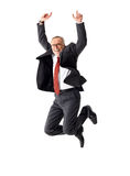 Business senior man jumping on isolated background Stock Photo