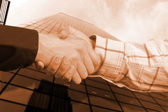 Business sephia handshake Stock Photos