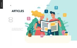 Business series - articles, web template. Business series, color 1 - articles - modern flat vector illustration concept of man and woman reading article on the royalty free illustration