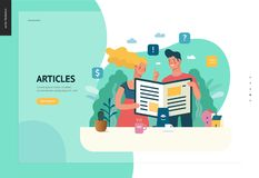 Business series - articles, web template. Business series, color 1 - articles - modern flat vector illustration concept of man and woman reading article on the stock illustration