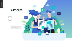Business series - articles, web template. Business series, color 3 - articles - modern flat vector illustration concept of man and woman reading article on the stock illustration