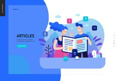 Business series - articles, web template. Business series, color 2 - articles - modern flat vector illustration concept of man and woman reading article on the stock illustration