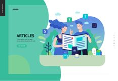 Business series - articles, web template. Business series, color 3 - articles - modern flat vector illustration concept of man and woman reading article on the royalty free illustration