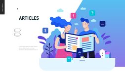 Business series - articles, web template. Business series, color 2 - articles - modern flat vector illustration concept of man and woman reading article on the royalty free illustration