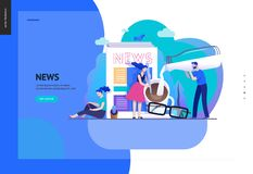 Business series - news or articles, web template. Business series, color 2 -news or articles -modern flat vector illustration concept of people preparing coffee vector illustration