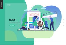 Business series - news or articles, web template. Business series, color 3 -news or articles -modern flat vector illustration concept of people preparing coffee vector illustration
