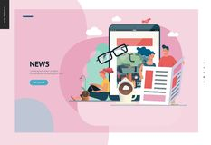 Business series - news or articles, web template. Business series, color 1 - news or articles- modern flat vector illustration concept of people reading news on stock illustration