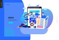 Business series - news or articles, web template. Business series, color 2 - news or articles- modern flat vector illustration concept of people reading news on stock illustration