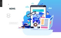 Business series - news or articles, web template. Business series, color 2 - news or articles- modern flat vector illustration concept of people reading news on royalty free illustration