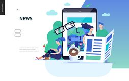 Business series - news or articles, web template. Business series, color 3 - news or articles- modern flat vector illustration concept of people reading news on vector illustration