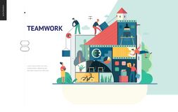 Business series - company, teamwork and collaboration web template vector illustration