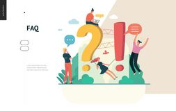 Business series - FAQ web template. Business, color 1- FAQ -modern flat vector concept illustration of Frequently asked questions People around exclamation and royalty free illustration