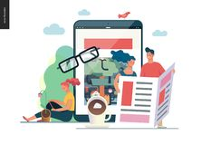 Business series - news or articles, web template. Business series - news or articles- modern flat vector illustration concept of people reading news on various vector illustration