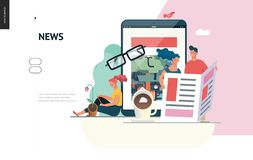 Business series - news or articles, web template. Business series, color 1 - news or articles- modern flat vector illustration concept of people reading news on vector illustration