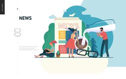 Business series - news or articles, web template. Business series, color 1 -news or articles -modern flat vector illustration concept of people preparing coffee stock illustration