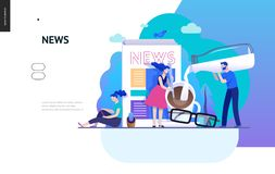 Business series - news or articles, web template. Business series, color 2 -news or articles -modern flat vector illustration concept of people preparing coffee royalty free illustration