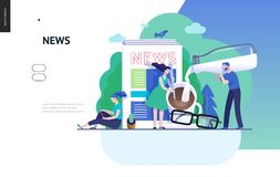 Business series - news or articles, web template. Business series, color 3 -news or articles -modern flat vector illustration concept of people preparing coffee royalty free illustration