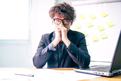 Business serious. Busy and headache person, unsuccessful businessman Royalty Free Stock Image